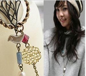 韩版饰品 饰品批发 小鸟珍珠毛衣链长项链 淘宝热卖 混批 X50323