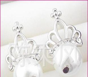 可爱超人气皇冠珍珠耳钉 2267 义乌饰品批发