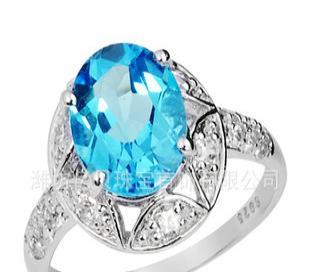 供应天然蓝黄玉戒指 托帕石 玉石宝石 水晶宝石 SR0199B