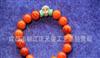 正品凉山南红玛瑙——柿子红925银佛头绿松石手链