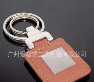 棕色正方形双环钥匙扣 双环棕色钥匙扣 皮质双环棕色钥匙扣
