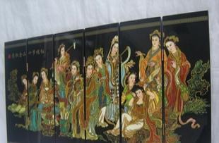 屏风:仿古小屏风:十二金钗、中国特色工艺品、漆器屏风