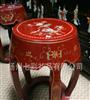 扬州漆器 平磨螺钿红底花鸟仿古鼓凳 家居装饰 仿古工艺家具