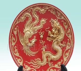 【低价批发】闽南漆线雕 民间工艺品 8寸龙凤盘
