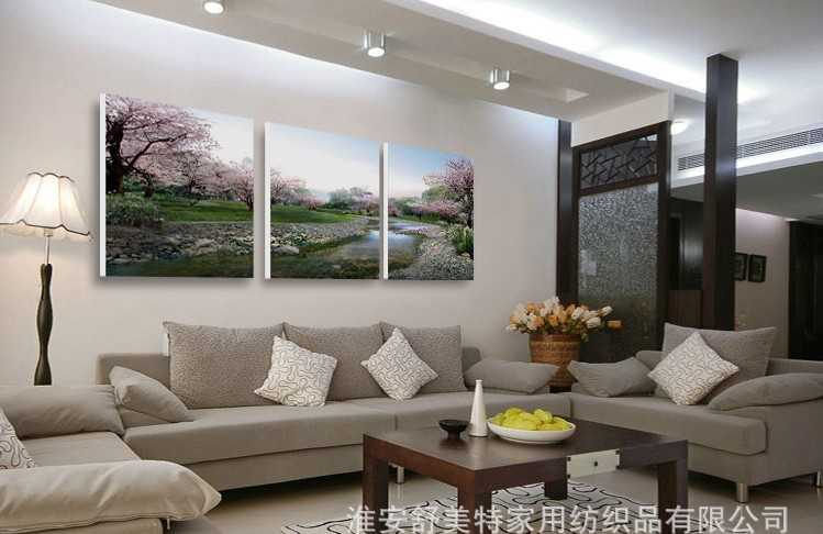 无框画 客厅现代三联画沙发背景墙装饰画风景壁画挂画