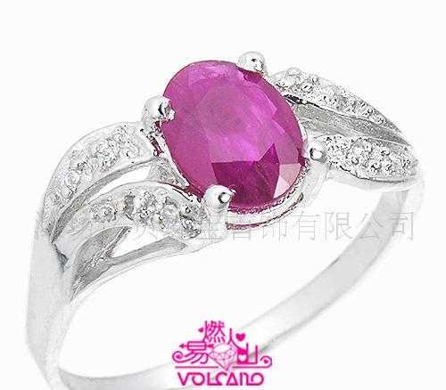 易燃火山专柜正品18K白金天然红宝石戒指 金银珠宝首饰批发
