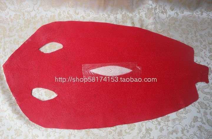 泰国珍珠鱼单肩包-整张10寸珍珠鱼皮料-珍珠鱼皮特色皮料 紅色