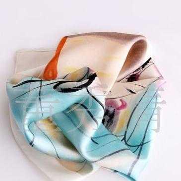 蚕丝印花流苏围巾,大方丝巾,标志丝巾,LOGO丝巾