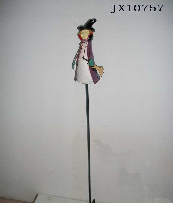 金属工艺品厂生产 万圣节节日装饰 女巫造型花园插枝