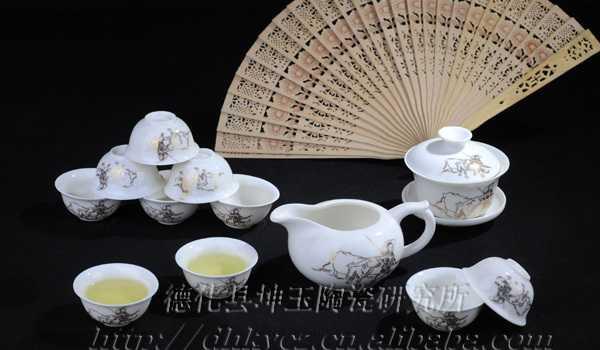 德化坤玉陶瓷 高档茶具图片 13头金春牛茶具 茶道茶礼 礼品用瓷