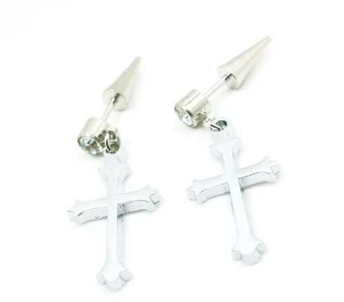 十字架耳钉 男生耳钉 耳钉 钛钢饰品批发