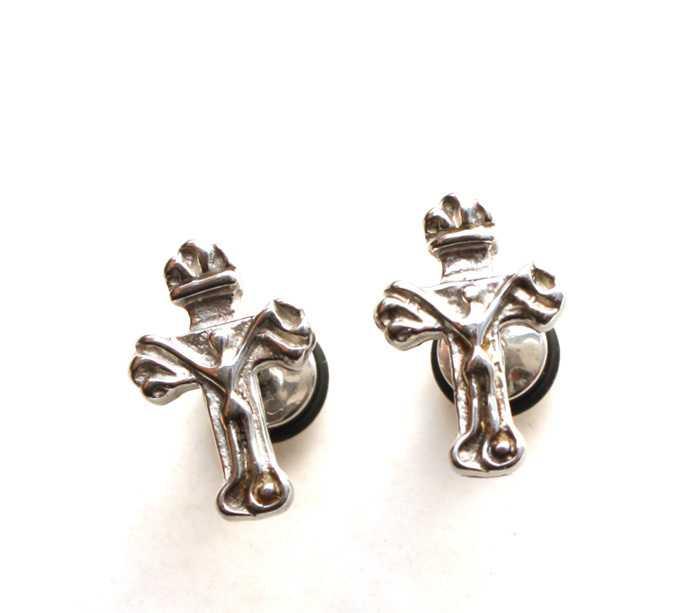 耶稣十字架男士钛钢耳钉 钛钢耳环 韩版饰品