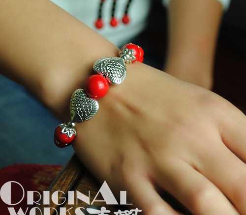 古树千藤民族原创民族风苗银鱼红珠手链手镯女 120214