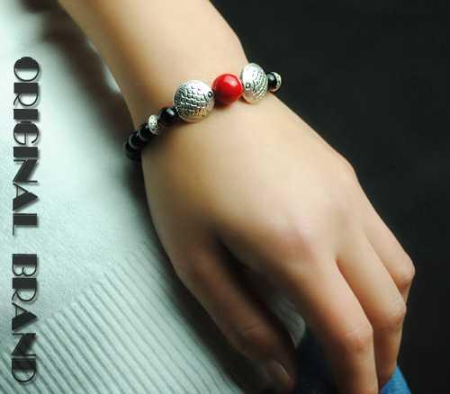生日礼物民族饰品原创民族风玛瑙苗银手链手镯女120214