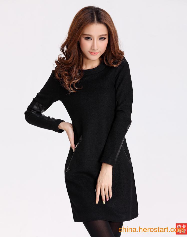 供应2012年冬季呢毛修身长袖气质大方连衣裙