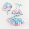 供应可爱儿童裙式泳衣含泳帽