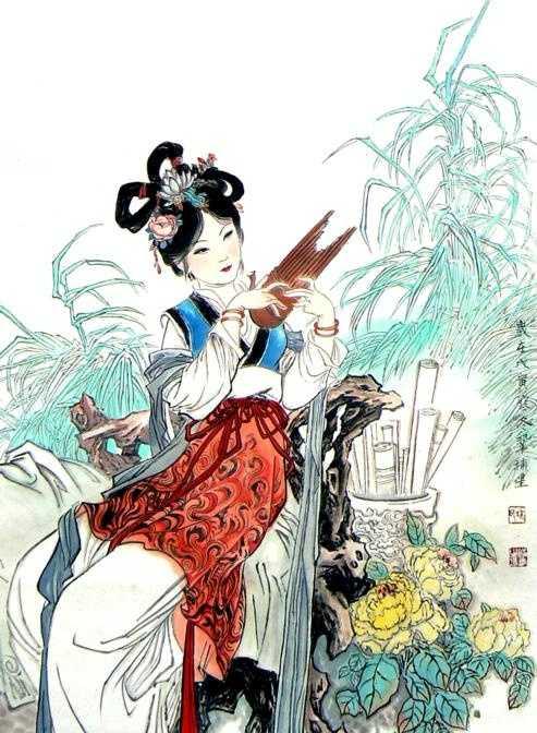 陕西著名人物画家巩补星人物画,传统工笔仕女画