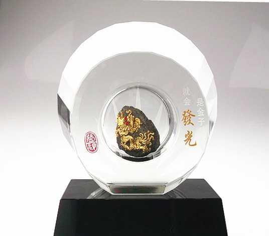 漆线雕新品 是金子总会发光水晶 现代新创意艺术品 激励员工礼品