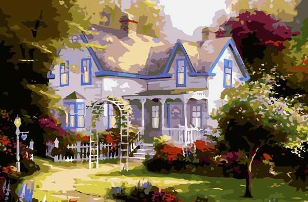 欧式小屋花园 60*80风景画 静物画 写实主义