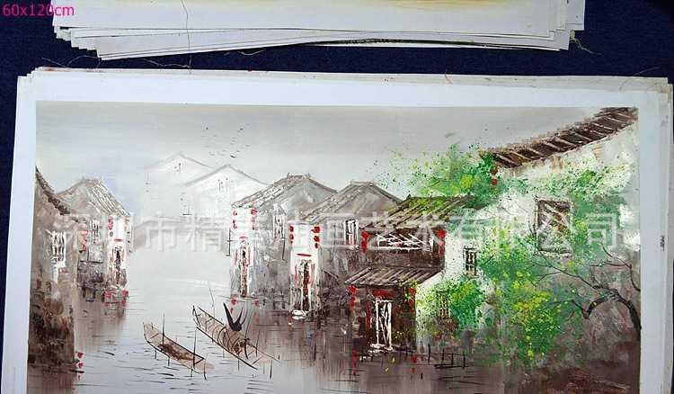油画批发 装饰 画 客厅 餐厅 卧室 手绘油画 无框画 水乡小镇