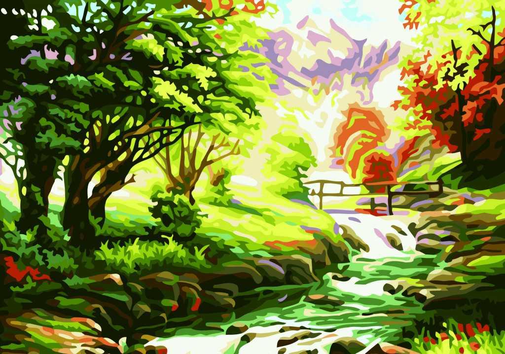 【厂家直供】diy手绘数字油画 028山间小溪40*50小河
