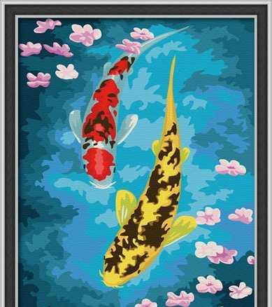 两只鲤鱼黄鱼蓝鱼数字油画e048富贵有余30*40厂家直销图片