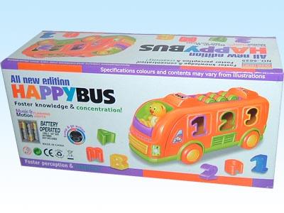 供应玩具电动、音乐、灯光、动作带积木卡通巴士
