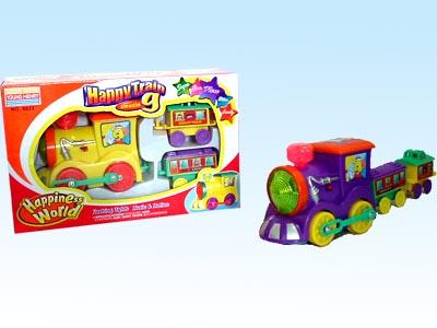 供应玩具电动、音乐、双灯光带动作拖卡火车