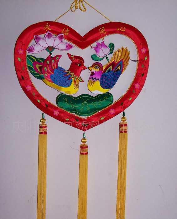 批发刺绣工艺品  室内挂件 婚庆用品 永结同心 旅游产品