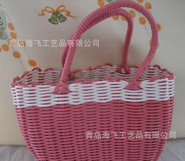厂家直销 手工编织 塑料管 手提包 菜篮子